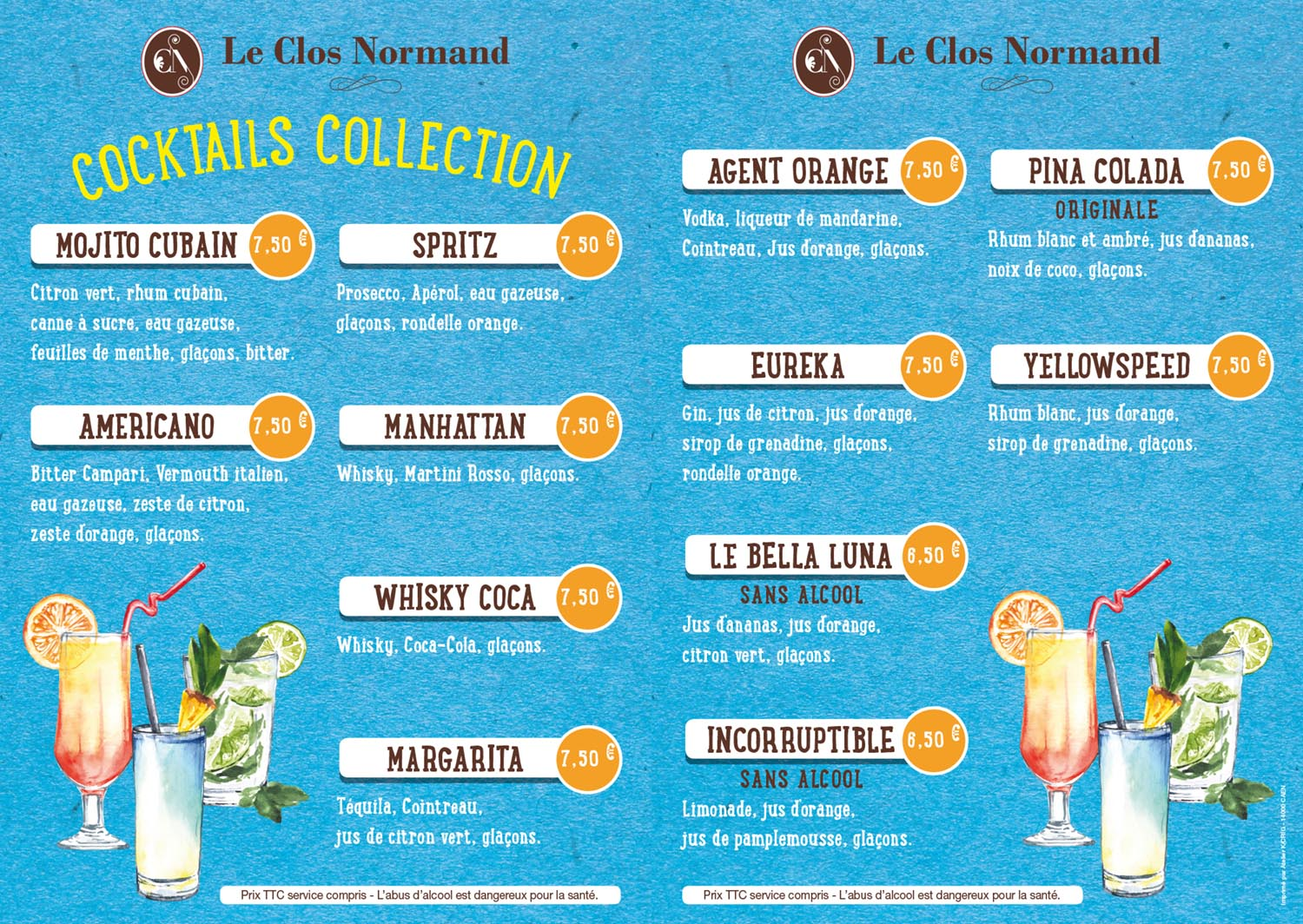 Carte Cocktails du Clos Normand